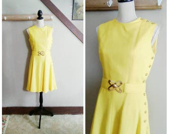 Drift Between Dimensions 1960s Mod/Space Age Yellow Linen Dress with Asymmetrical Button Detail