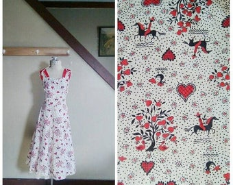20% OFF / Home on the Farm 1940s/1950s White/Black/Red Hearts/Trees/Roosters/Horses Novelty Print Dress w/ Cut Out Strap Detail
