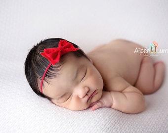 RED BOW HEADBAND, Newborn Headband, Bow Headbands, Christmas Headband, Baby Headband, Red baby Headband, Valentines Day Headband, Red Bow