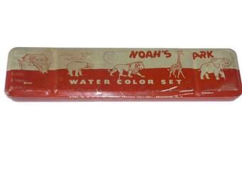 Vintage Noah's Ark Water Color Tin Empty 1940s