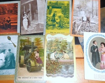Vintage Lot Rppc Ah Love / Colorful RPPC Love Themed
