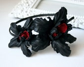 Black/Red Leather Orchids Flower Headband Headpiece