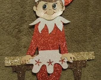 Elf on the Shelf Girl ornament glitter cardstock