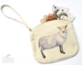 Sheep Canvas Zip Purse, Makeup Bag, Coin Purse, Small Accessory Pouch