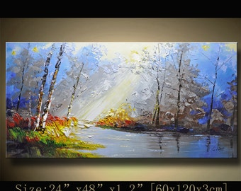 Abstract Wall Painting, expressionism Textured Painting,Impasto Landscape Painting  ,Palette Knife Painting on Canvas by Chen 1129