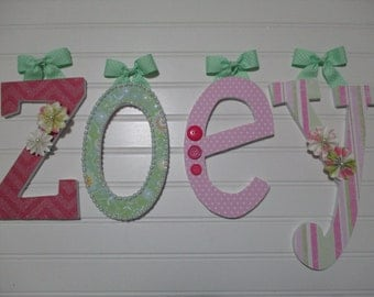"ZOEY - 12.00 per letter 8-1/2"", girl nursery, hot pink letters, baby pink letters, green, pink and green stripes, lowercase letters"