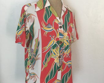 1940s Rayon Kamaaina women's shirt size M