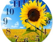 "SUNFLOWER FIELD Clock - Large 10.5"" Wall Clock - 2111"