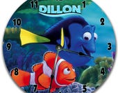 "FINDING NEMO Personalized Wall Clock - Nursery Clock - Large 10.5"" Wall Clock - Round Wall Clock - Kids Room - Birthday Gift - Bedroom Clock"