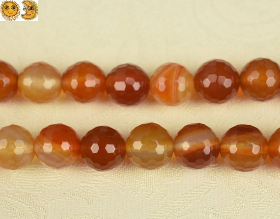 15 inch strand of Red Agate faceted(128 faces) round beads 8-14mm