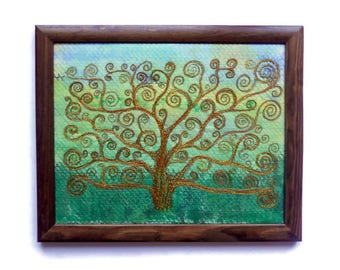 Fibre art Textile pictures wall hanging framed painting embroidery