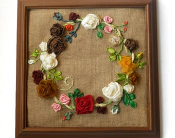 fiber art wall hanging  textile picture ribbon embroidery