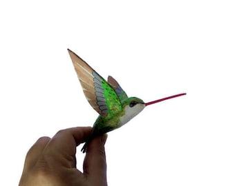 Hummingbird art Paper machè Sculpture bird figurine