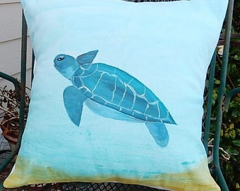 """Handmade and Hand Painted Sea Turtle  Decorative Pillow Cover - Gorgeous Blues and Greens - Fits a 18"""" x 18"""" Pillow"""