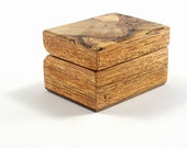 Handmade Exotic Wood Double Ring/Cufflink Box New Guinea Walnut Base, Spalted Maple Top (RB3222)