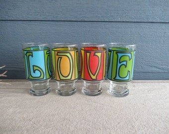 Set of 4 Vintage 'LOVE' Glassware, Colourful Retro Tumblers, Groovy Drinking Glasses