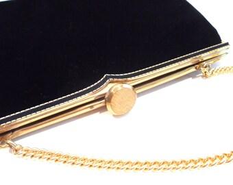 Vintage 1950s Coblentz Handbag Black Velvet Evening Bag Frame Style Gold Chain Handle Vintage Bags and Purses