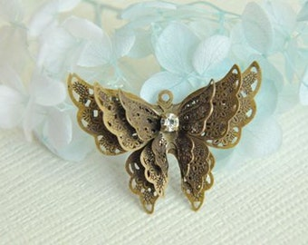 5 pcs raw Brass plated antique bronze  butterfly    Filigree pendant  Finding