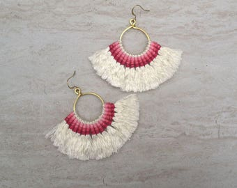 Cream Tassel Hoop Earrings Cream Tassel Earrings Tassle Earings BOHO Chic Earrings Gypsy Tassle Jewelry Trending Now Wholesale Jewelry
