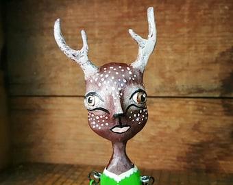 Nala the deer girl OOAK paperclay hinged Art Doll