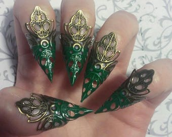 Color Tipped Bronze Leaf Claws // Set of 5 // Custom Color