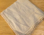 White Linen Handkerchief with Mini Tatted Edging