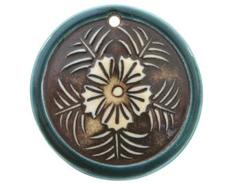Tropical Flower 1.75 inch ( 45 mm ) Large Disc Porcelain Pendant (Ocean Mist)