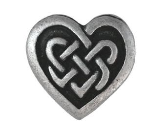 12 Celtic Heart 3/4 inch ( 20 mm ) Metal Buttons