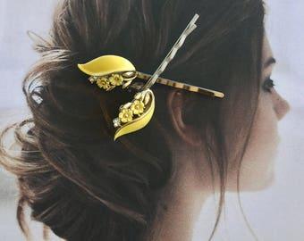 Lisner Yellow Leaf Decorative Hair Pins Woodland Goddess Bridal Enamel Bobby Pins Vintage 1950 1960 Jewelry