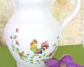 ON SALE Vintage Created in Italy for Rosenthal Netter ceramic white pitcher with rooster and flowers
