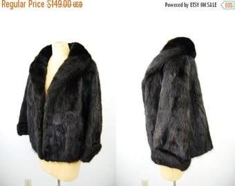 Bringing Home Baby SALE: Vintage Black Fox Fur Jacket Coat Soft Plush Real Fur