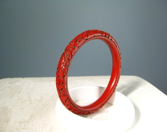 Red Bangle Bracelet / Vtg 50s / Chinese Cinnabar Carved Red Bangle Bracelet
