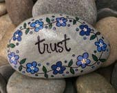 Happy Rock - Trust - Hand-Painted Beach Rock Stone - blue forget me nots flowers