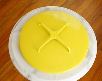 """Handy Enamel Lid by Dansk Kobenstyle -- 9"""" Yellow Enamel Lid Designed by Jens Quistgaard -- Danish Modern Cookware"""