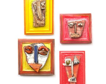 Contemporary art, Ceramic mask, Set of 4, Modern ceramic, Ceramic wall art, Wall sculpture, 3D sculpture, Ceramic art, Contemporary art