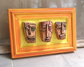 Triple sculpture, Mixed media art, Assemblage art, Ceramic sculpture, Wall sculpture, Original art sculpture, Orange sculpture, 99heads