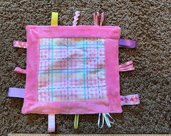 Security Ribbon, Tag, Blanket, Pink Minky