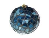 Blue Glass Christmas Ornament, Mosaic Ornament, Stained Glass Ornament, Holiday, Glass Ornament, Christmas Decor, Tree Ornament
