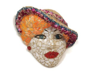 Lady with Hat, 40's Glamour Girl Mosaic, Stained Glass Hollywood Glamour, Hollywood Starlet Mask, Red Hair, Hollywood Girl, Wall Hanging,