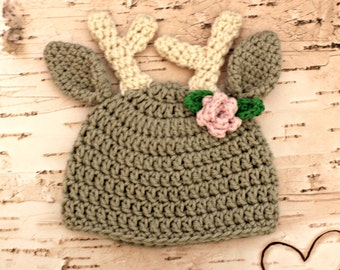Deer Hat - Gray Woodland Hat - Boy or Girl Style - all sizes deer beanie hat newborn, baby, child, adult