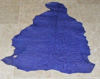 CDE7630-12) Hide of Indigo Printed Lambskin Leather Skin