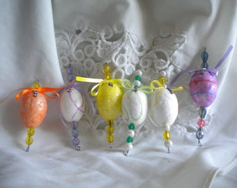 Easter egg ornaments icicles miniature with vintage rhinestone jewelry piece, pearls, bows, jewel beads. Feather tree; lot of 6