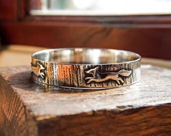 Fox silver bangle, foxes jewelry, wide silver bangle, textured silver bracelet, fox jewellery, woodland bangle, large bangle, UK hallmark