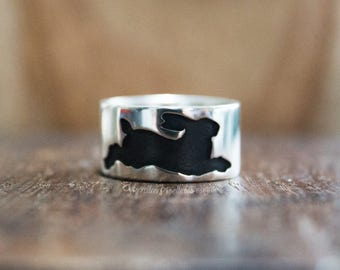 Silver hare ring, bunny ring, rabbit ring, wide silver ring, chunky silver ring,  handmade silver ring, size S, size 9 1/4, UK Hallmark