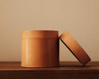 100% Hand-stitched Leather Swab box Organizing Box storage box Vegetable Tanned Leather