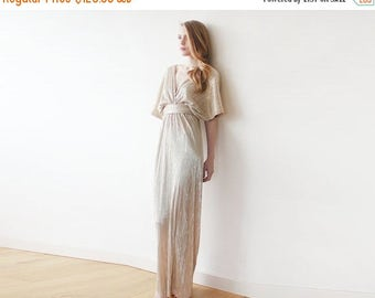 Spring Sale Maxi bat sleeves gold pleated dress, Gold maxi gown, Glamorous party dress 1065