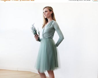 Spring Sale Sage green midi length tulle gown with long sleeves , Bridesmaids sage tulle short gown 1068.