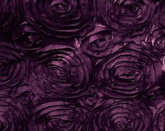 Satin Rosette Eggplant 52 Inch Fabric by the Yard - 1 yard