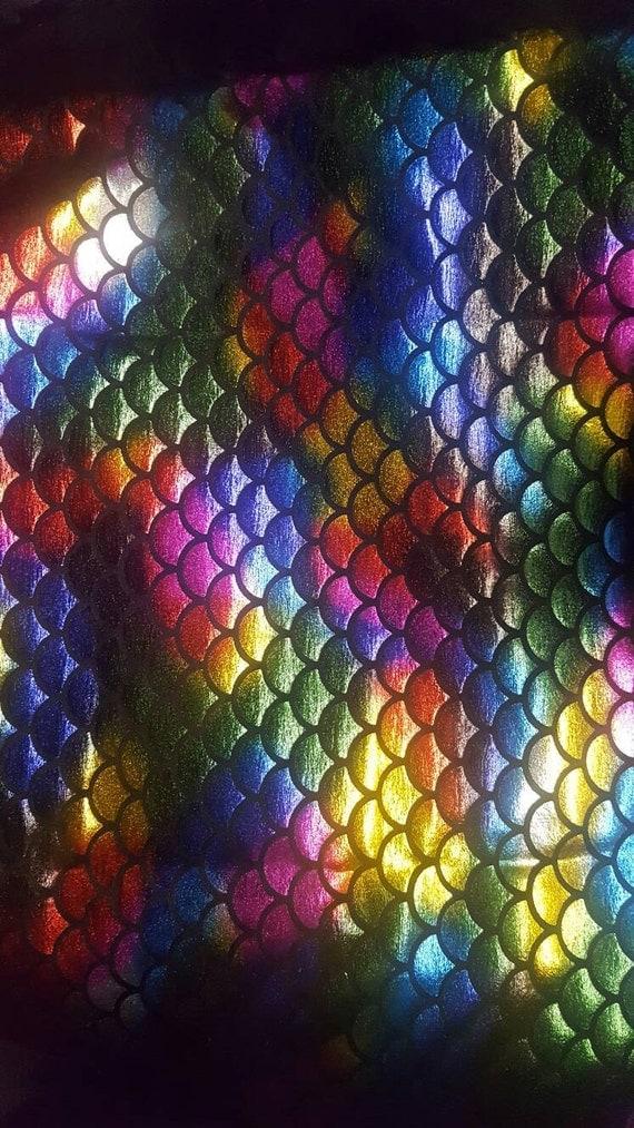 Big mermaid fish scale spandex rainbow fabric by the yard 1 for Rainbow fish fabric