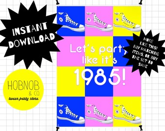 Printable 80s party welcome sign INSTANT DOWNLOAD